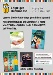 Ankündigung der Lesung auf der Leipziger Buchmesse. basic erfolgsmanagement Verlag.